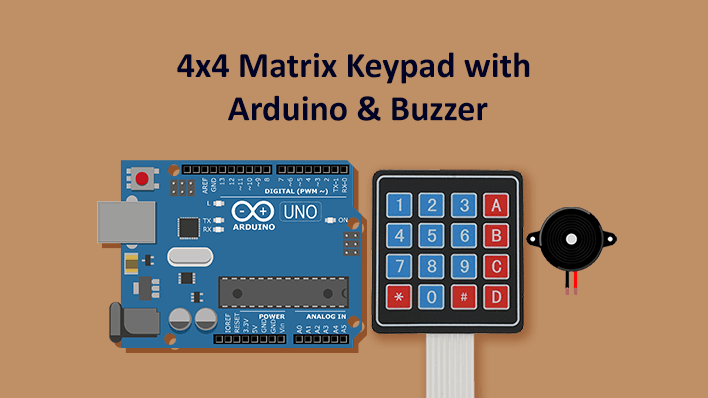 Interface 4x4 Matrix Keypad with Arduino and Buzzer